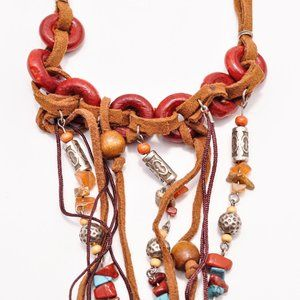 Hobo Feather Stone Bead Leather Tribal Necklace